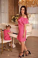 Летнее платье в горох для мамы и дочки. комплект Family look, платья фэмили лук оптом