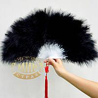 Веер из лебяжьих перьев, цвет Black, размер 24х40, 1 шт