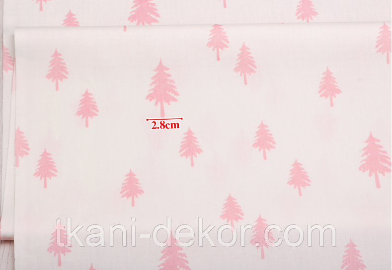 Сатин (хлопковая ткань)  розовая елка