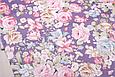 Сатин (хлопковая ткань)  на фиолетовом крупные цветы (компаньон полоска), фото 3