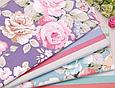 Сатин (хлопковая ткань)  на фиолетовом крупные цветы (компаньон полоска), фото 4