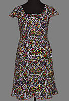 Длинный халат домашний женский на пуговицах больших размеров (100% хлопок) короткий рукав Украина