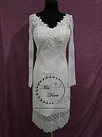 Короткое коктейльное платье с рукавом айвори