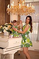 Летнее платье для мамы и дочки. комплект Family look, платья фэмили лук. Комплект фемили лук