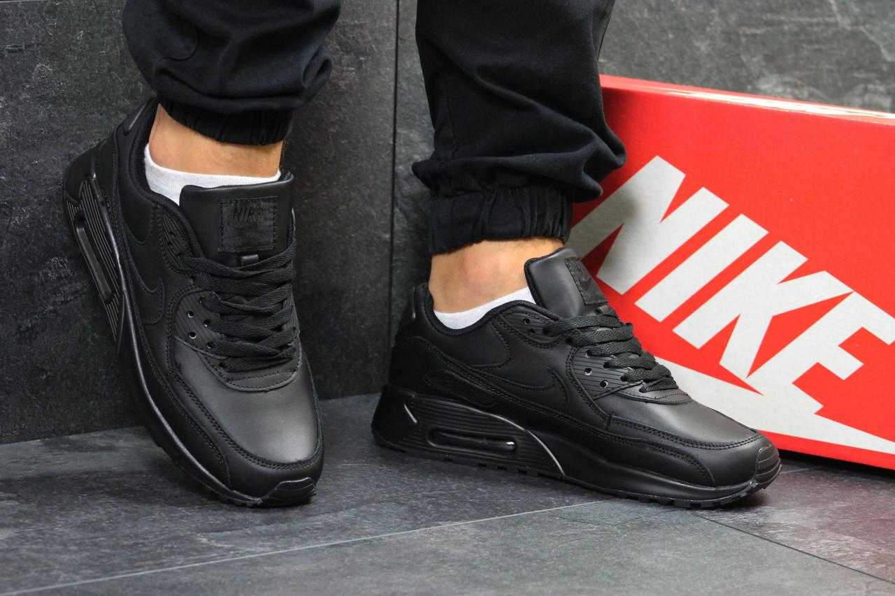 Кроссовки мужские Nike Air Max 90  классические, спортивные, кожа+пена (черные), ТОП-реплика