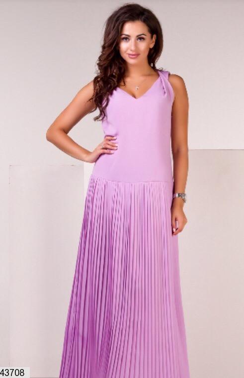 Нежное платье макси свободное без рукав шифоновое лиловое