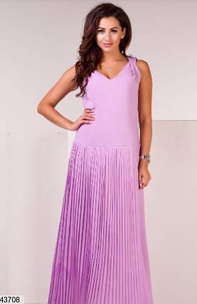 Нежное платье макси свободное без рукав шифоновое лиловое, фото 2