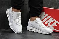 Кроссовки мужские Nike Air Max 90 кожаные стильные, классика топовые, найк (белые), ТОП-реплика, фото 1
