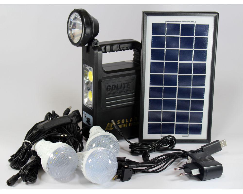 Фонарь аккумулятор с солнечной батареей панель GD Lite GD 8033, фонарь фара, светодиодный фонарь