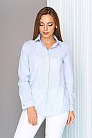 df34b40c7e9 Блуза-рубашка с отложным воротником на стойке ГОЛУБАЯ ПОЛОСКА