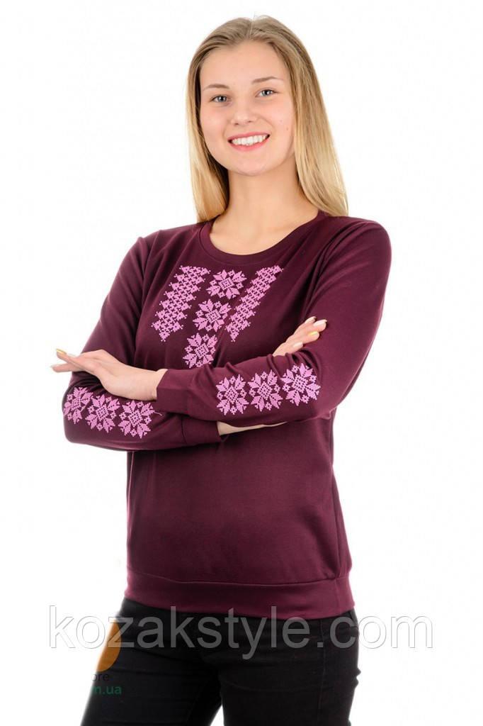 Жіночий трикотажний світшот-вишиванка (марсала)