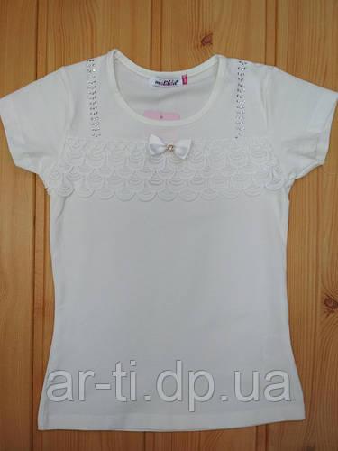 2e2d3786e82 Трикотажная школьная блуза с короткими рукавами и кружевом на девочку