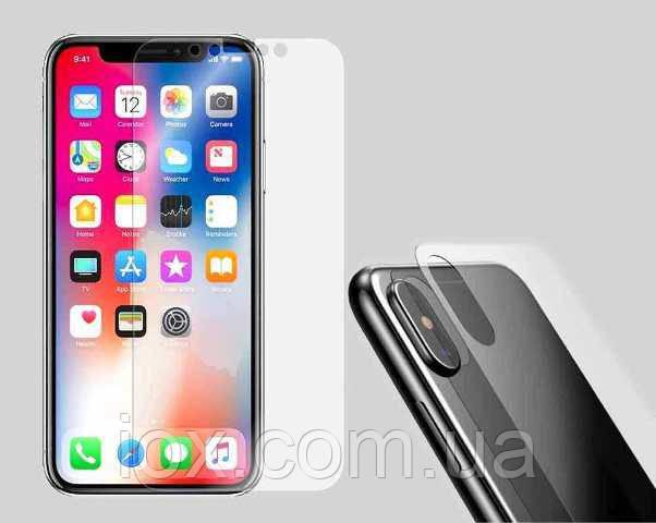 Комплект защитное противоударных стекол (экран + задняя панель) для iPhone X Прозрачное
