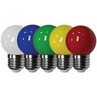 LED Лампа LEMANSO G45 шар 5LED E27 1W (желтая/зеленая/красная/синяя)