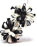 Заколки для волос цветок черно/белый пара