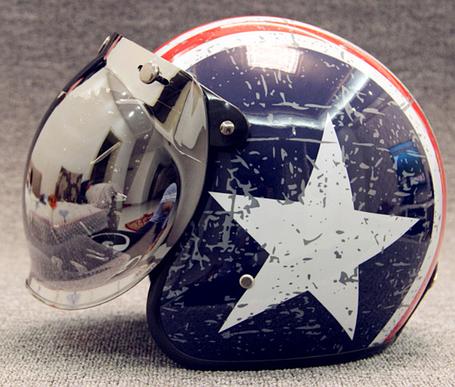 Ретро шлем полулицевик звезда с бабл визором , фото 2