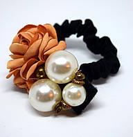 Резинка для волос цветок/жемчужные бусины, фото 1