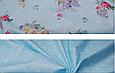 Сатин (хлопковая ткань) на голубом цветы с горохом, фото 2