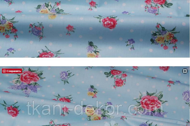 Сатин (хлопковая ткань) на голубом цветы с горохом