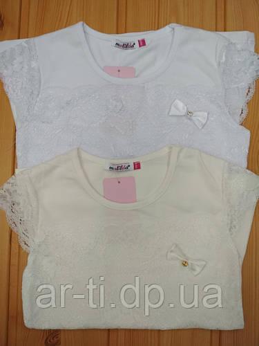 a058d083868 Школьная трикотажная блуза с короткими рукавами и кружевом на девочку