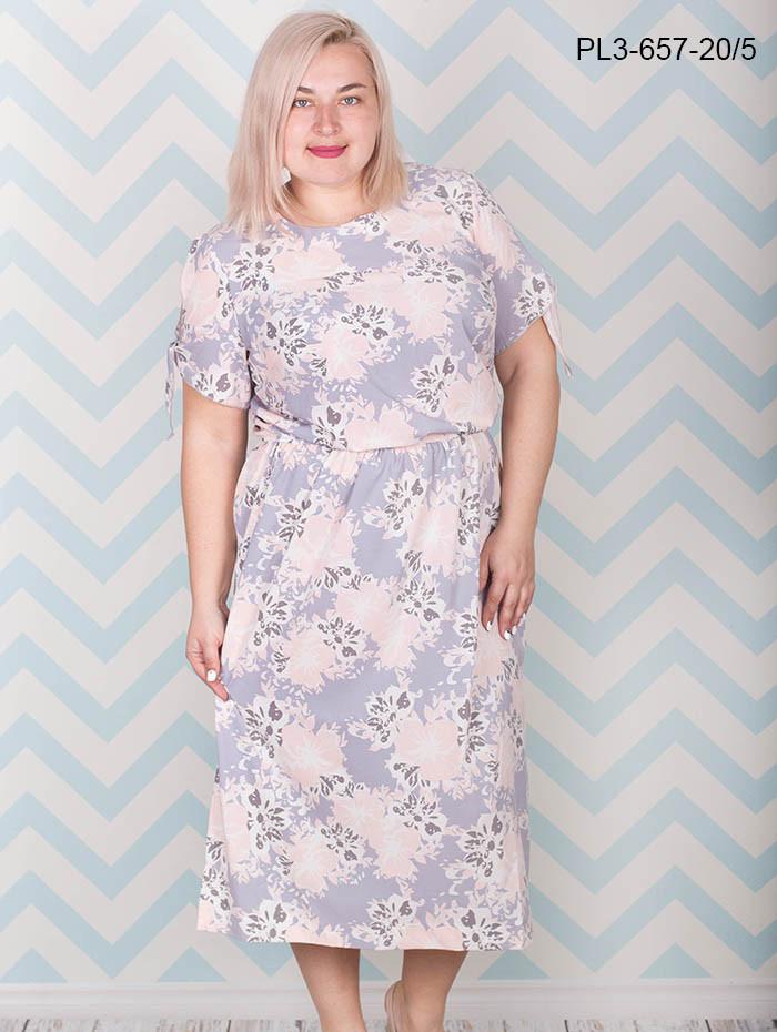 903662f33ed Женское летнее платье из шелка свободного покроя   цвет серый   размер  66