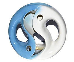Аромалампа керамічна, Біло-блакитна, h 12 см