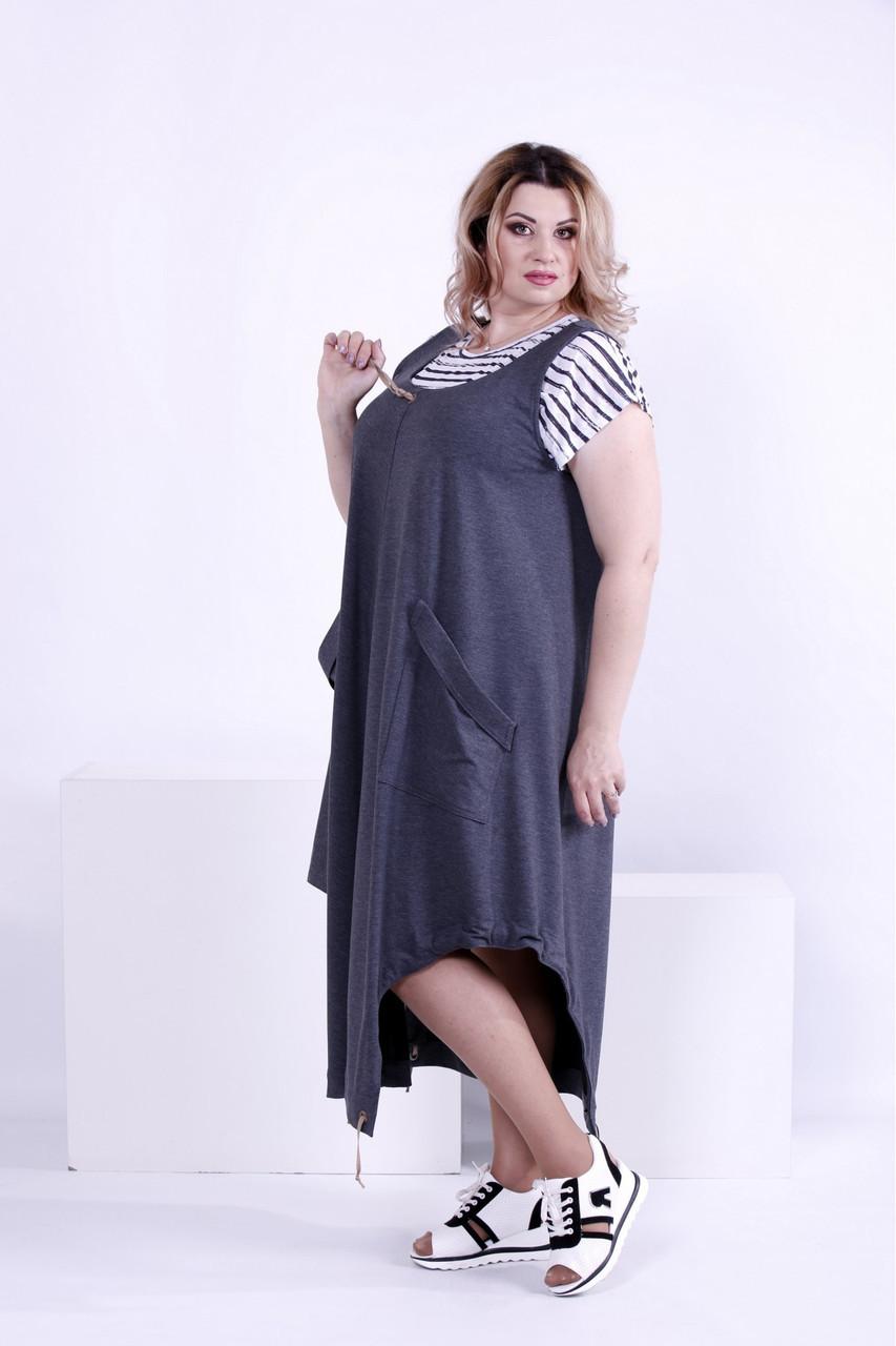 5401ec43d8b ... Женское платье свободного покроя (футболка отдельно) 0879   размер  42-74   большие ...