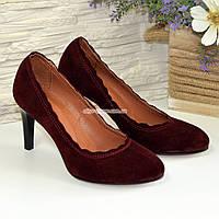 Туфли женские бордовые замшевые на шпильке. 35 размер