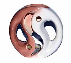 Аромалампа керамічна, Біло-коричнева, h 12 см