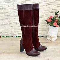 Женские зимние сапоги из натуральной кожи и замши на высоком каблуке. 38 размер