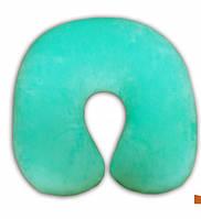 Подушка для шеи велюровая Турист, полистерольные шарики, цвет мятный, антистресс 30*30 см