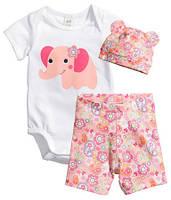 Комплект трикотажный для новорожденного H&M (боди, шотры, шапочка), Размер: 62
