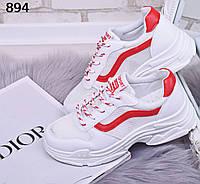 Белые кроссовки сетка с красными вставками 894