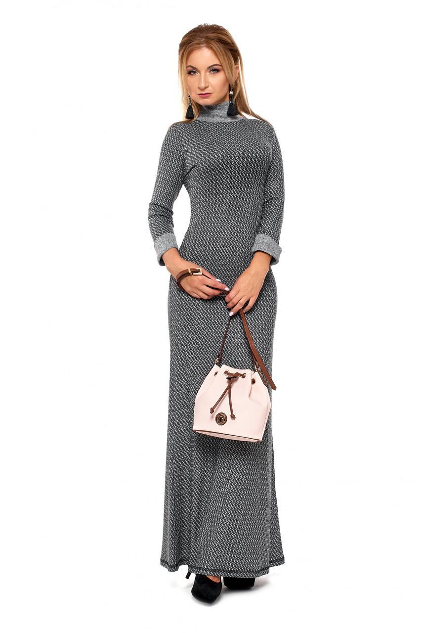 83286653729 Длинное трикотажное женское платье чулок с высокой горловиной - Exclusive в  Хмельницком