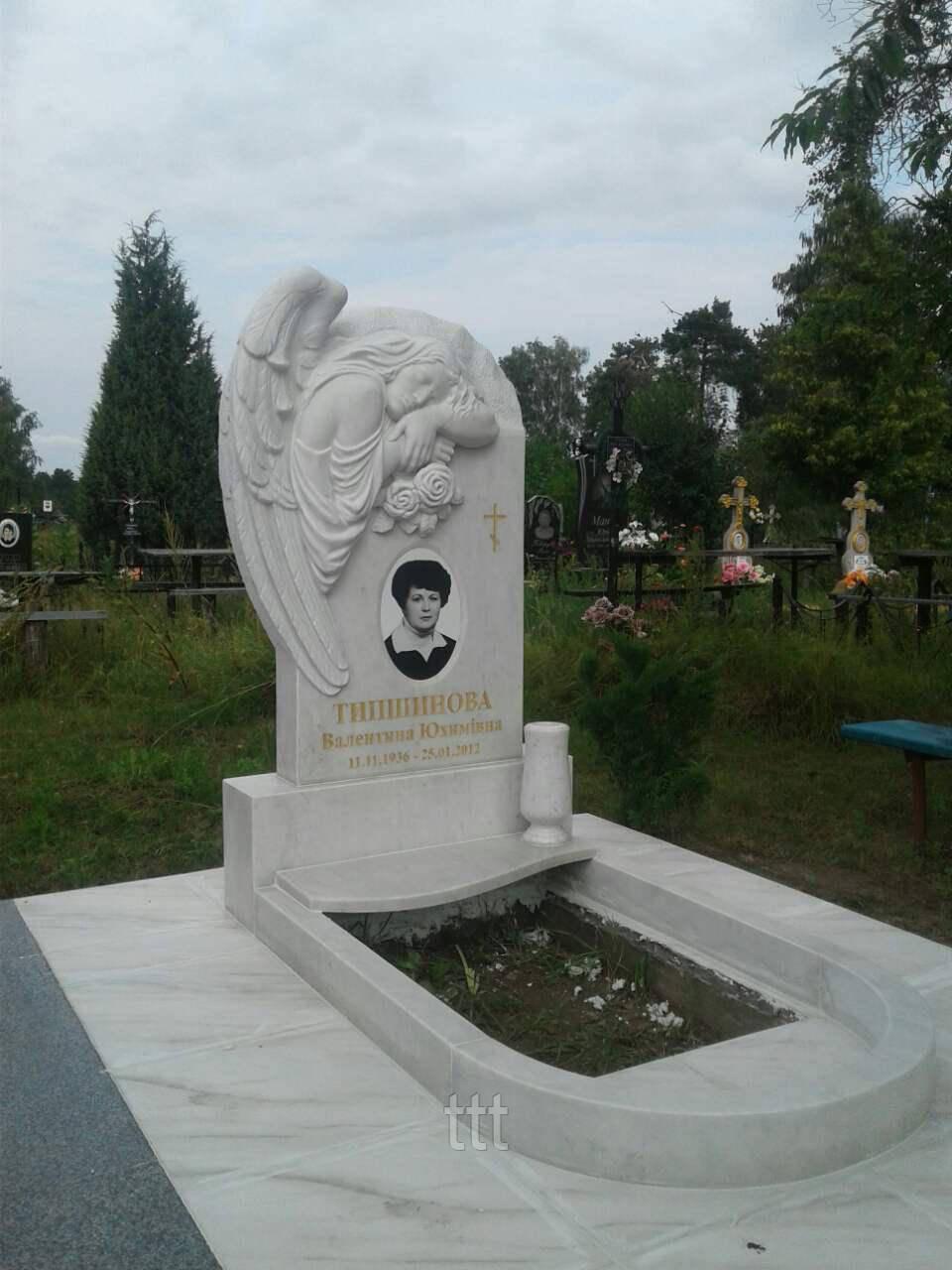 Мраморный памятник   ангел с овальным фото № 15