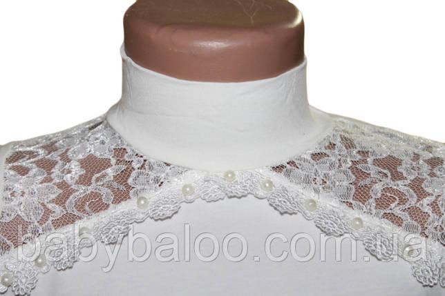 Стойка длинный рукав гипюр с бусинками на плечах(от 6 до 9 лет) , фото 2