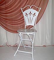 Стул 02 кованый со спинкой раскладной белый, фото 1