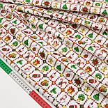 """Сатин ткань """"Рождественская клеточка"""" на белом № 1447, фото 2"""