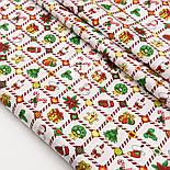 """Сатин ткань """"Рождественская клеточка"""" на белом № 1447, фото 4"""