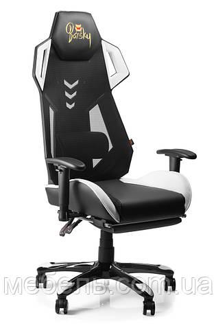 Геймерское кресло игровое Barsky BGM-09 черное с белым, фото 2