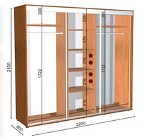 Шкафы-купе высота 2100,глубина 600,ширина на выбор, фото 1