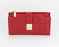 Кошелек женский кожаный 6911 красный, 20 ячеек для карт, фото 1