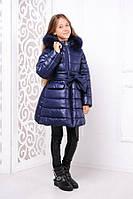 Темно синяя зимняя куртка для девочки   Курточка на зиму для девочки синяя