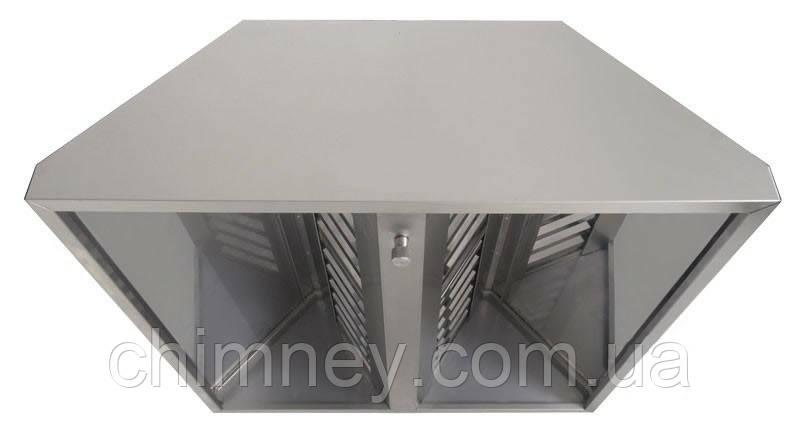 Зонт нержавеющий 0.5 мм без жироуловителей CHIMNEYBUD, 1100x600 мм