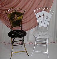 Стул 01 кованый со спинкой раскладной черный/золото, фото 1