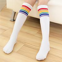 Гольфы - чулки для девочки белые с разноцветными полосками