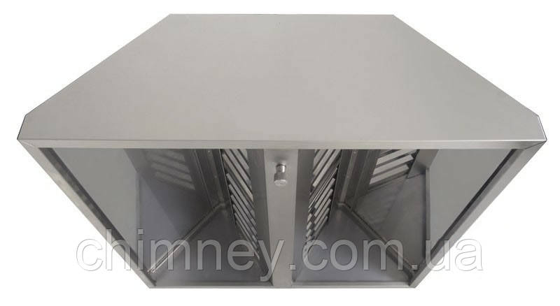 Зонт нержавіючий 0.8 мм без жироуловлювачів CHIMNEYBUD, 2300x1100 мм