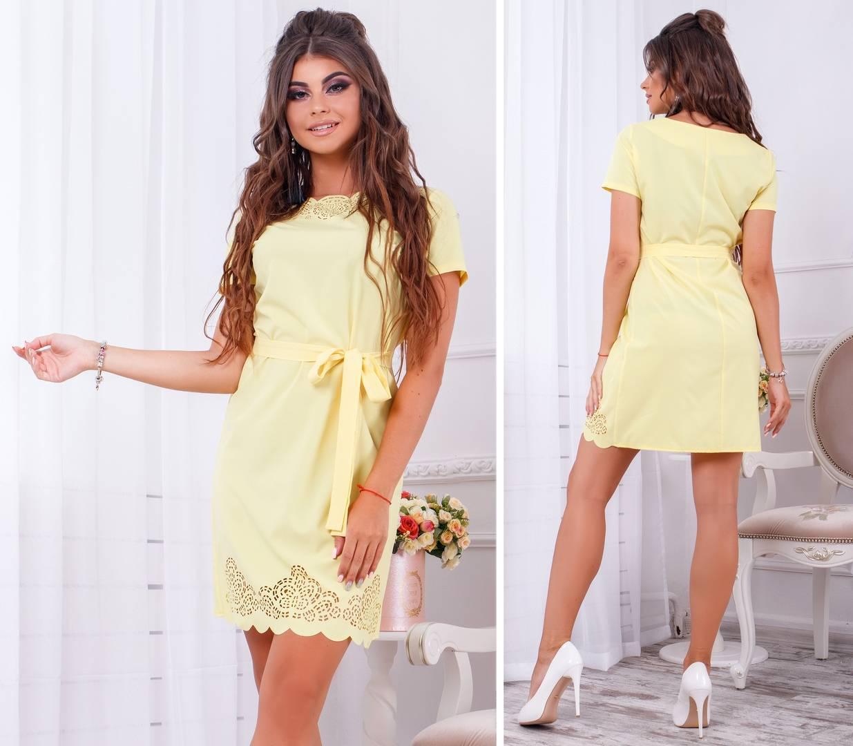 Платье с выбитым рисунком , арт. 109, нежный желтый