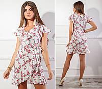 Платье на запах, арт. 115, красная веточка на белом, фото 1