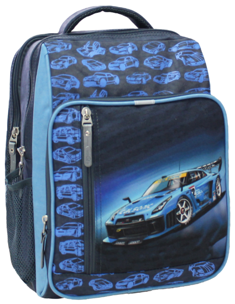 Рюкзак школьный с гоночной машиной синий
